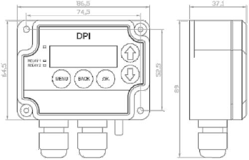 Pressostato-Trasduttore DPI - Dimensioni