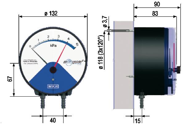 Manometro differenziale a membrana air2guide WI - Montaggio a parete