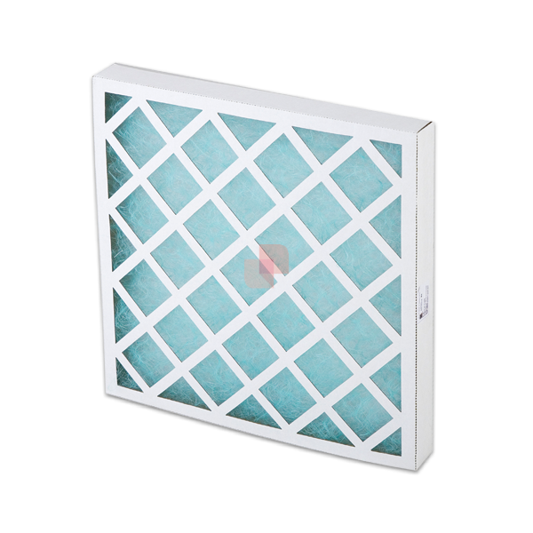 Filtering Cell with carboard frame + dual layer fiberglass polyester media